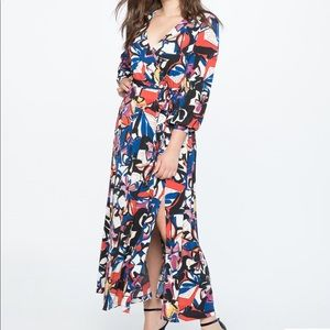 ELOQUII Printed Havana Floral Wrap Maxi Dress 24
